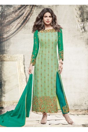 Priyanka chopra green color straight cut salwar kameez