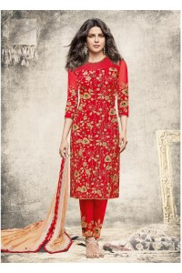 Priyanka chopra red color straight cut salwar kameez