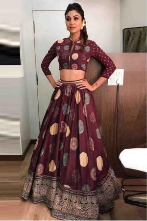 Bollywood Style Shilpa shetty brown silk lehenga choli