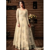Sonal chauhan Off white color netted wedding anarkali 4807