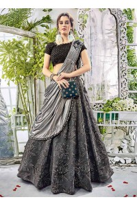 party wear dark grey lycra lehenga 207
