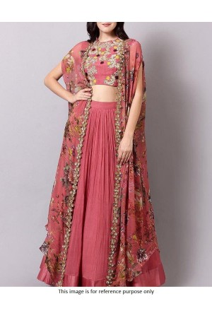 Bollywood model cherry pink georgette lehenga