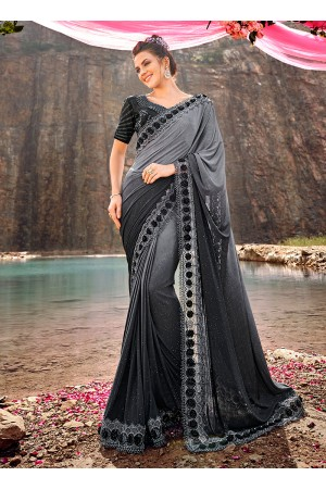 Grey shaded diamond and heavy work wedding saree