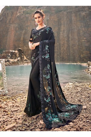 Black sequence and heavy thread work wedding saree
