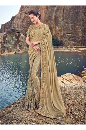 Gold color korean fabric mirror and hand work wedding saree