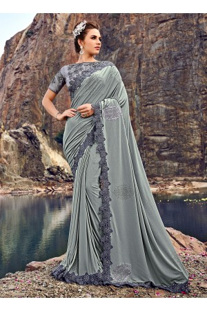 Grey diamond heavy work wedding wear saree