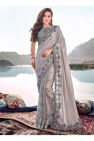Grey heavy hand work wedding saree