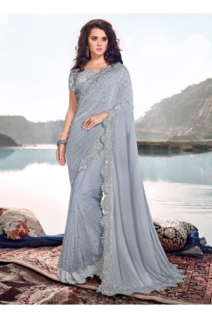 Grey korean fabric heavy crystal work wedding saree