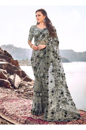Grey digial net saree hand work wedding wear saree