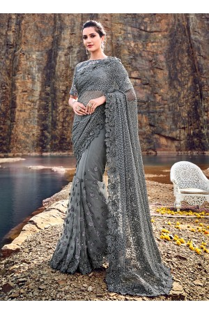 Grey net heavy moti work wedding saree