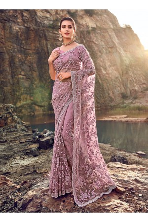 Gajri net heavy zarkan wedding wear saree