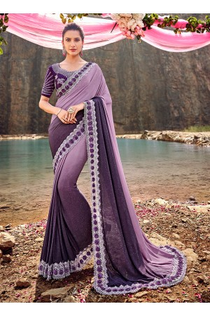 Purple Korean fabric moti work heavy wedding saree