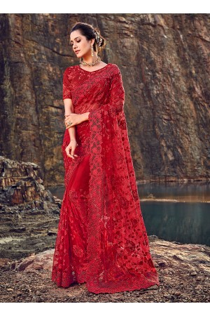 Red net diamond work wedding wear saree
