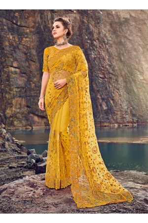 Yellow net diamond heavy work wedding Saree