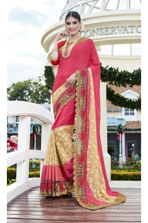Party-wear-Cherry-Pink-color-saree
