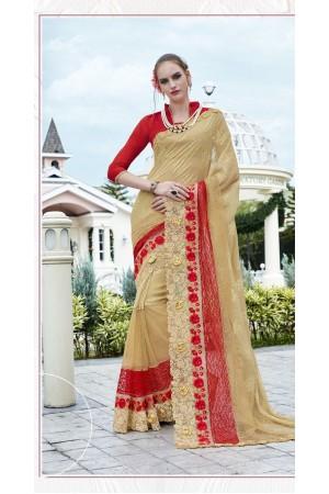 Party-wear-Cream-Red-color-saree
