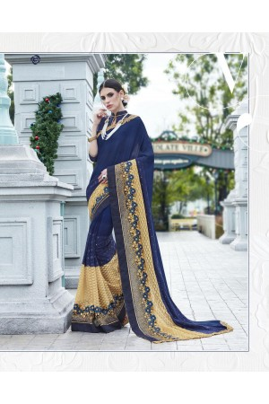 Party-wear-Dark-Blue-color-saree