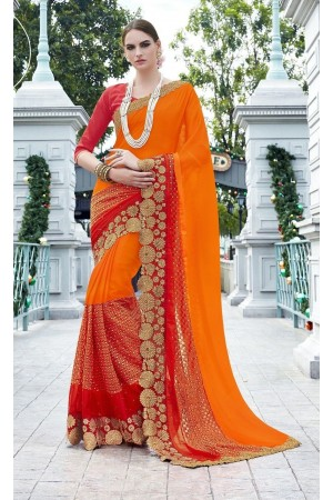 Party-wear-Orange-Red-color-saree