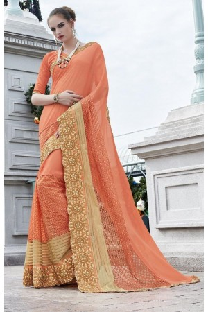 Party-wear-Peach-color-saree
