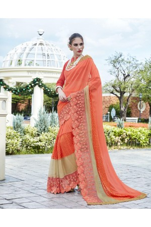 Party-wear-Peach4-color-saree