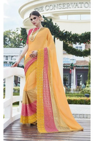 Party-wear-Yellow-color-saree