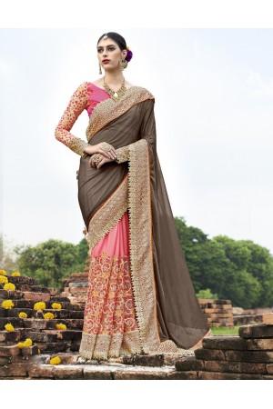 Brown and pink wedding wear saree