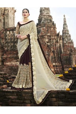 Cream and brown wedding wear saree