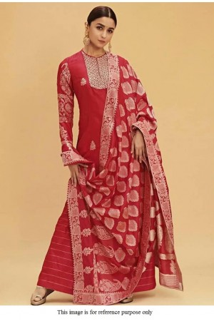 Bollywood Alia Bhat red faux georgette Kurti palazzo set