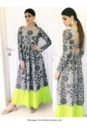 Bollywood Kirti Sanon Grey digital print gown