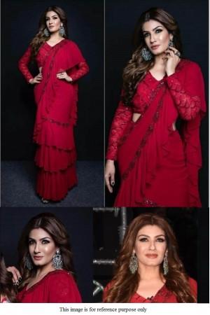 Bollywood Raveena Tandon red georgette ruffle saree