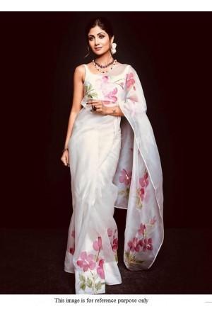 Bollywood Shilpa Shetty Organza white pastel saree