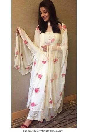 Bollywood Kajal Aggrawal white picchika kurta suit