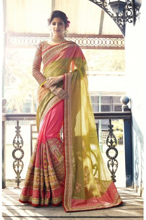Green and pink crepe silk and net wedding wear saree