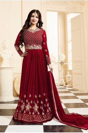 Ayesha Takia red color georgette anarkali