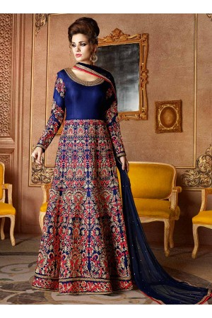 Navy blue color mulberry silk wedding wear anarkali