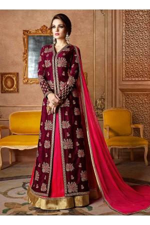 Wine and fuschia color georgette and silk wedding lehenga kameez