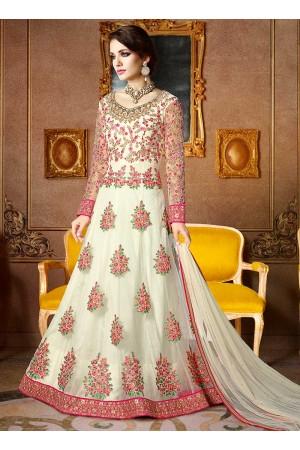 Off white color net wedding wear anarkali