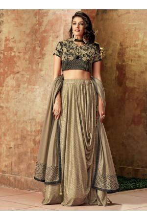 Indian wedding Beige and gold lycra wedding lehenga 7719