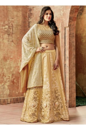 Indian wedding Beige silk wedding lehenga 7721