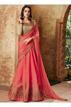 Indian wedding Pink and beige silk wedding lehenga 7720