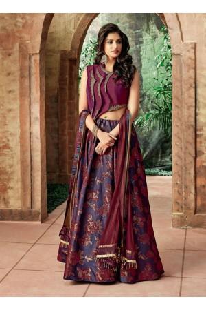 Indian wedding Purple and magenta silk wedding lehenga 7705