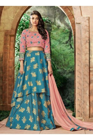 Indian wedding blue and pink silk wedding lehenga 7713