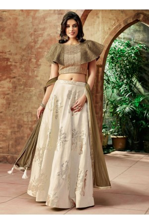 Indian wedding cream and beige silk wedding lehenga 7714