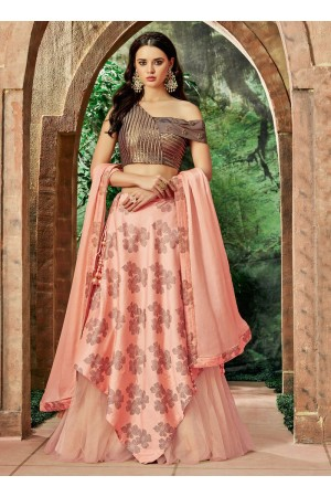 Indian wedding peach and brown silk wedding lehenga 7716