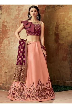 Indian wedding peach and maroon silk wedding lehenga 7707