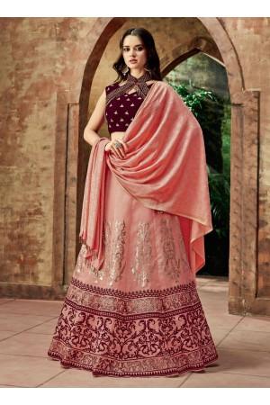 Indian wedding pink and wine silk wedding lehenga 7718