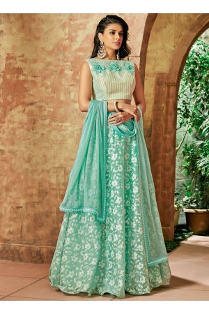 Indian wedding seagreen and offwhite tissue wedding lehenga 7715