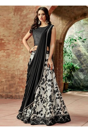 Indian wedding white and black silk wedding lehenga 7711