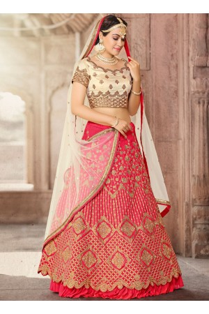 Pink bhagulpuri silk wedding lehenga choli