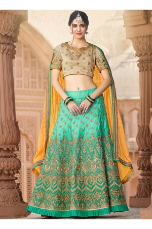 Firozi and beige banarasi silk wedding lehenga choli